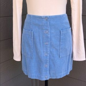 Honey Punch Dusty Blue Corduroy Skirt